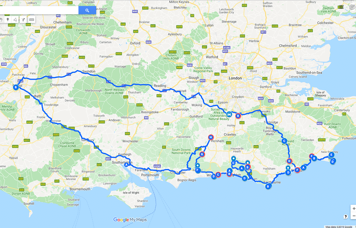 A map view of the places I went to during my holiday along the english south coast